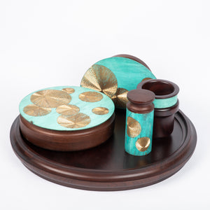 Mukhwaas supari reversible tray handcrafted in wood and hand etched patina naqqashi craft home object serving table top reversible tray festive essential