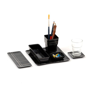 Tangram Bidri Lakeer Square tray play at work handcrafted in bidri minimalist art like functionality zinc copper Home object serving table top stationery desktop organizer