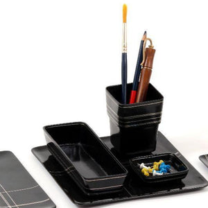 Tangram Bidri Lakeer Square penstand play at work handcrafted in bidri minimalist art like functionality zinc copper Home object serving table top stationery desktop organizer