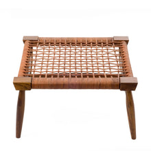 Leather strap foot stool leather cord linear pattern healthy ventilation, wooden stool, crafted, traditional stool