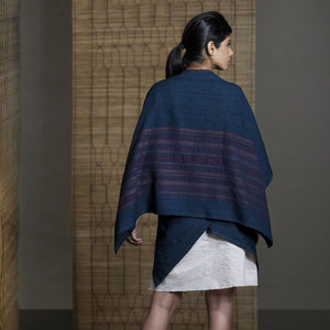 Wild Ass KITE Shrug Wool Silk Indigo Wearable stitched garment Textile Weaving