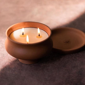 Pratah Luxury Candle Terracotta handcrafted handmade pottery lighting, crafted candle, handmade candle, unique beautiful candle