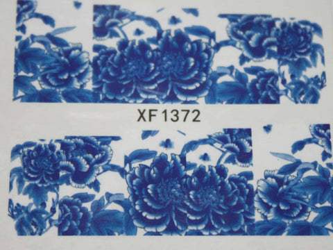Blue and white flower water decals