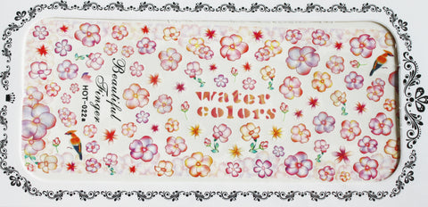 Orange and Pink water colour flowers - Large Water Decals