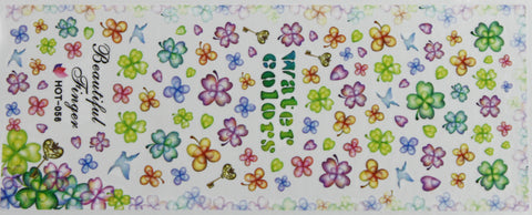 Rainbow flower water decals