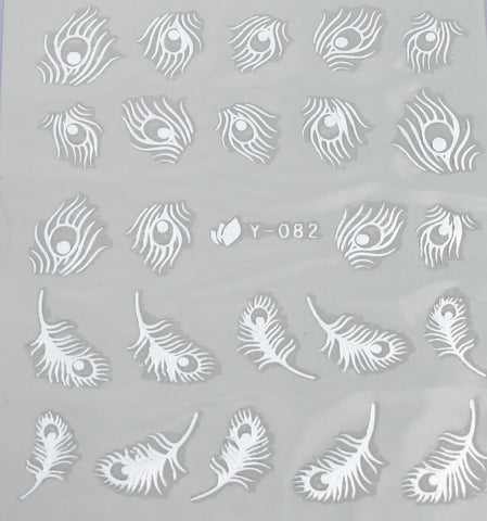 Silver peacock feather water decals