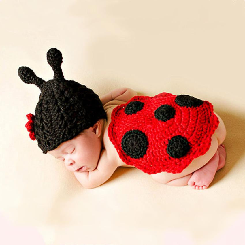 2 pieces set Newborn Baby Cute Insects Knit Crochet Clothes Costume Photo Photography Props Drop ship
