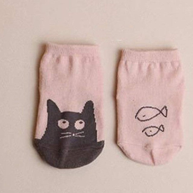 1Pair cute fashion Baby Personalized Asymmetric Graphics Non Cotton  Slip Floor Socks
