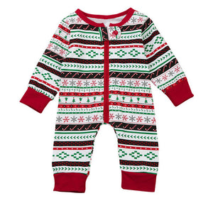 2017 Autumn Toddler Infant Baby Boys Girls Long Sleeve Romper Red Striped Christmas Tree Snow Print Jumpsuit Clothes Outfits
