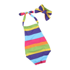 2Pcs Set Rainbow Infant Baby Girls Backless Romper Striped Halter Jumpsuit+Headband 2017 Summer Baby Girl Onesie Clothes Outfits