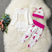 2017 Autumn Baby Clothes Baby Clothing Sets Fashion Cotton Long-sleeved Letter T-shirt+Pants+Hat Newborn baby clothing set 0-24M