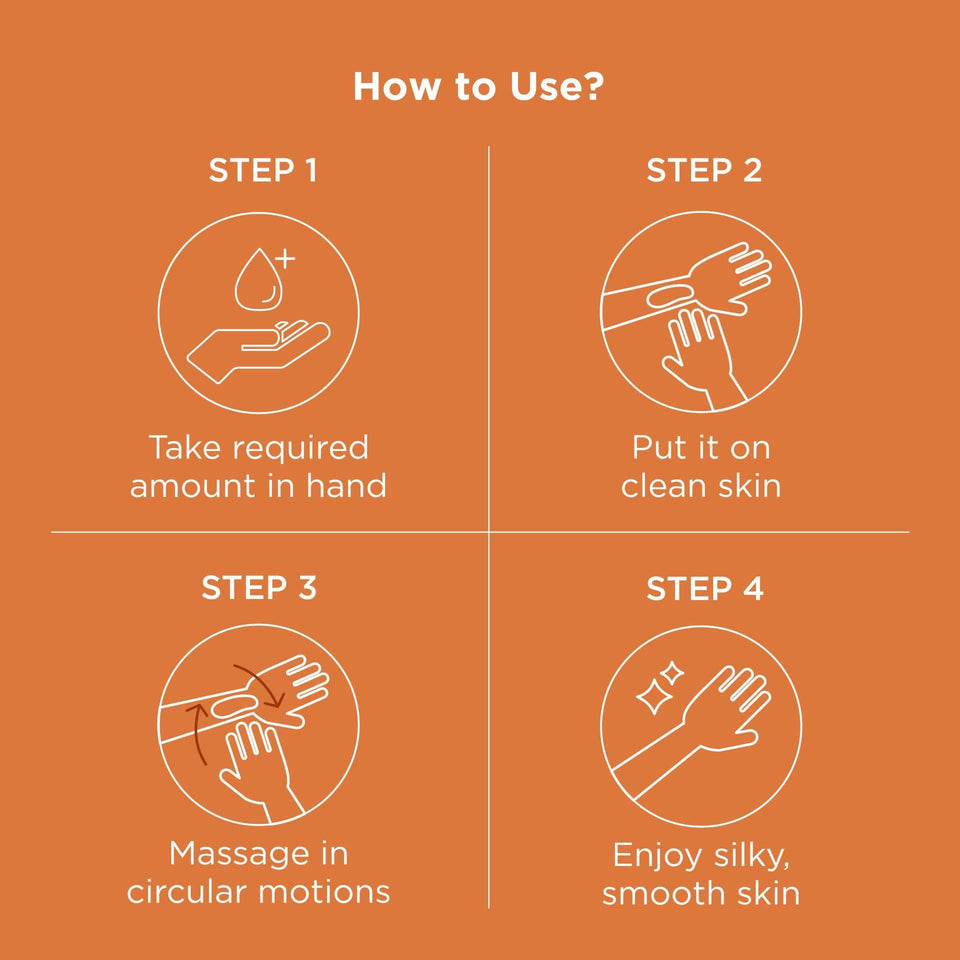 Step wise instructions on how to use this moisturizer. Step 1 take required amount in hand. Step 2 Put it on clean skin. Step 3 Massage in circular motions and Step 4 Enjoy silky, smooth skin.