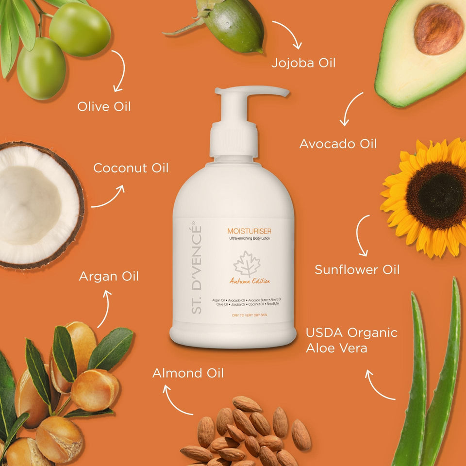 All main ingredients of Autumn edition Moisturizer like Avocado oil, Argan Oil, Almond oil, Jojoba oil, Sunflower Oil, Coconut oil, Olive oil and USDA organic Aloe Vera mentioned around the bottle.