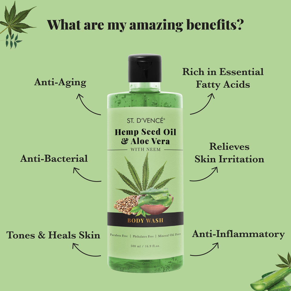 List of Amazing Benefits of this hemp seed oil shower gel is it is rich in essential fatty acids, relieves skin irritation, tones and heals skin, is Anti inflammatory, Anti bacterial and anti aging.