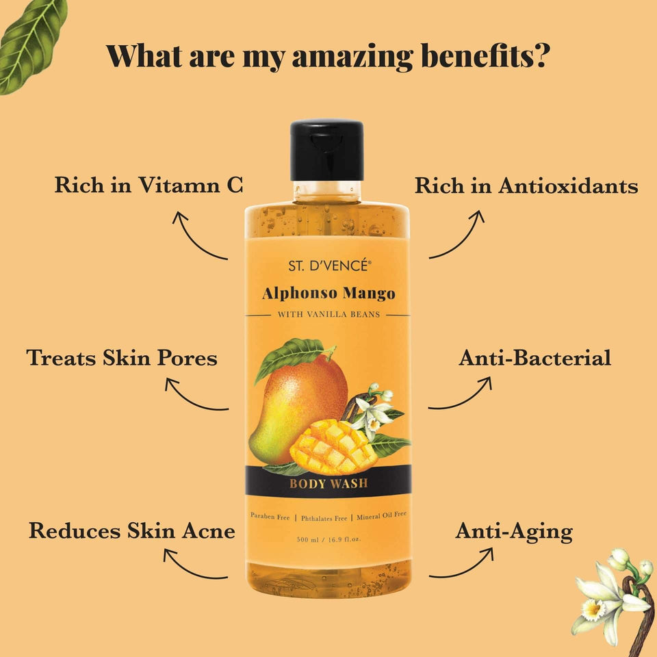 List of Amazing Benefits of mango shower gel is it reduces skin acne, Treats skin pores, rich in antioxidants, Anti Aging, Rich in Vitamin C and anti bacterial.