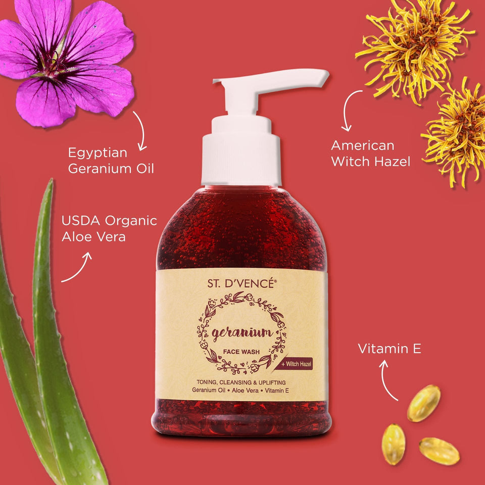 Geranium Oil Face Wash with Witch Hazel & Aloe Vera, 150 ml