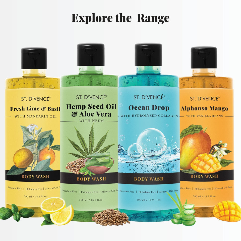 Explore the other ranges of body wash by St. D'vence. Fresh Lime and Basil with Mandarin Oil, Hemp seel oil and aloe vera, Ocean drop with hydrolyzed collagen and Alphonso mango with vanilla beans.