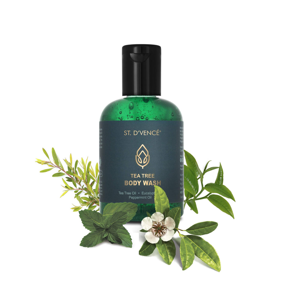 St. D'vence Trea Tree Body Wash with Eucalyptus and Peppermint Oil, 100 ml bottle with leaves of Tea Tree, Eucalyptus and Peppermint around the bottle.