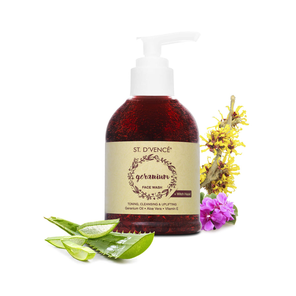 Geranium Oil Face Wash with Witch Hazel & Aloe Vera