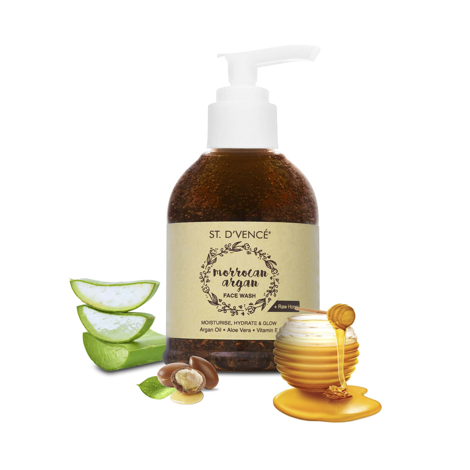 Argan Oil Face Wash - Organic Honey & Aloe Vera