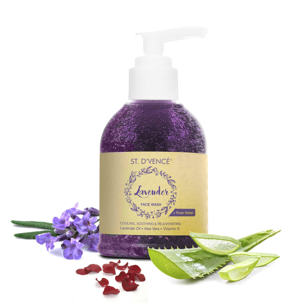 Lavender Oil Face Wash - with Rose Water & Aloe Vera, 150 ml