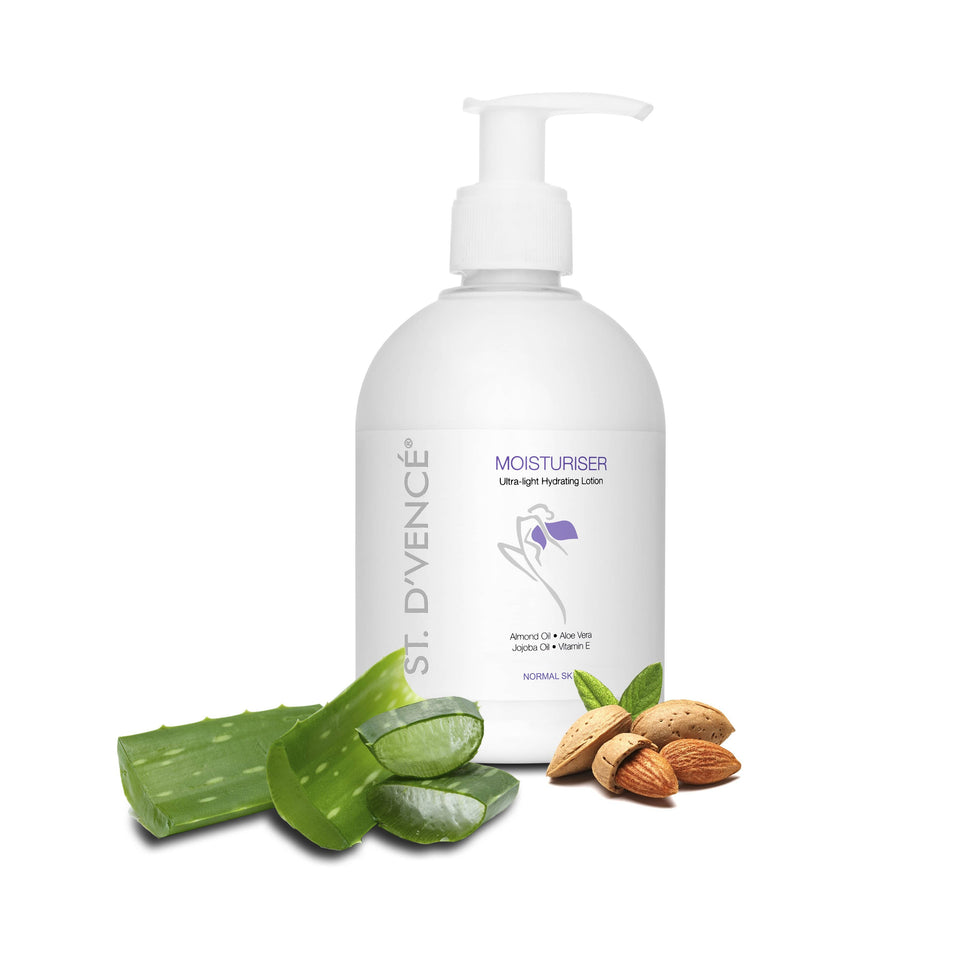 St. D'vence Original Body Moisturiser  with Almond Oil & Aloe Vera, 300 ml with freshly cut aloe vera and almonds around the bottle.