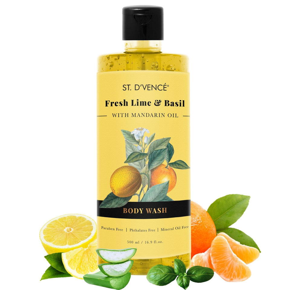 St. D'vence Fresh Lime and Basil with Mandarin Oil Body Wash 500 ml bottle with pealed Mandarin fruit, Basil leaves and freshly cut Organic Aloe vera and lime fruit around the bottle.