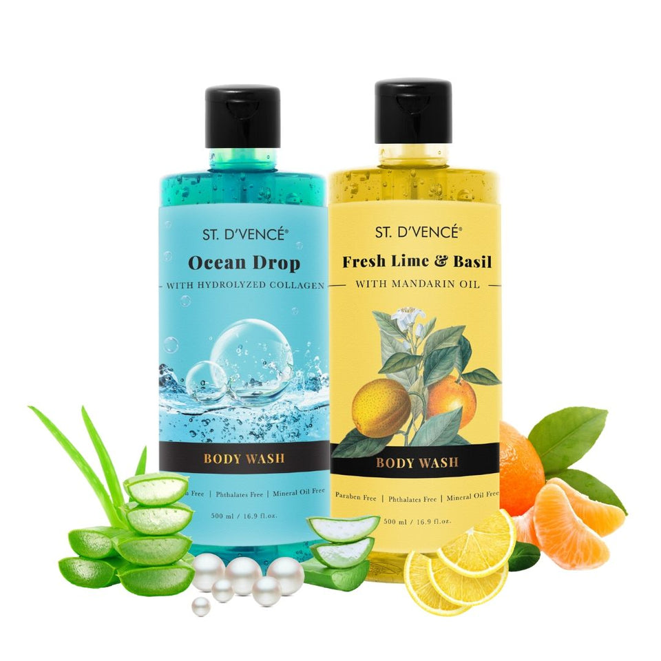 Combo Value pack of 2, 500ml Body wash. St. D'vence Fresh Lime and Basil with Mandarin Oil and St. D'vence Ocean Drop with Hydrolyzed Collagen Body Wash 500 ml bottle.