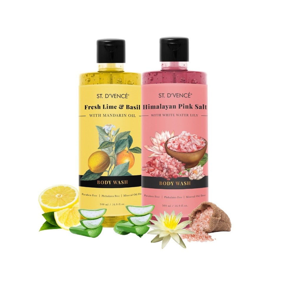 Combo Value pack of 2, 500ml Body wash. St. D'vence Fresh Lime and Basil with Mandarin Oil and St. D'vence Himalayan Pink Salt with White Water Lily Body Wash 500 ml bottle.