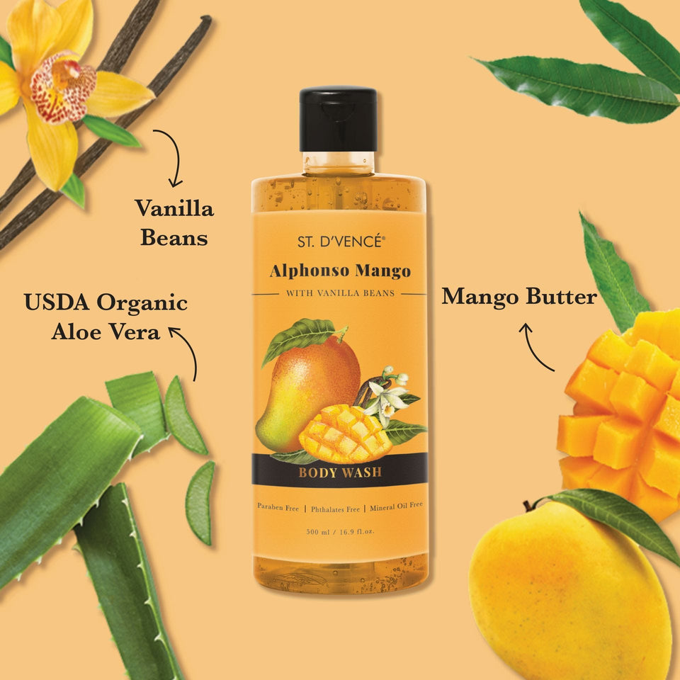 Main ingredients of shower gel like  Alphonso mangoes, USDA Organic Aloe vera and Vanilla beans mentioned around the bottle.