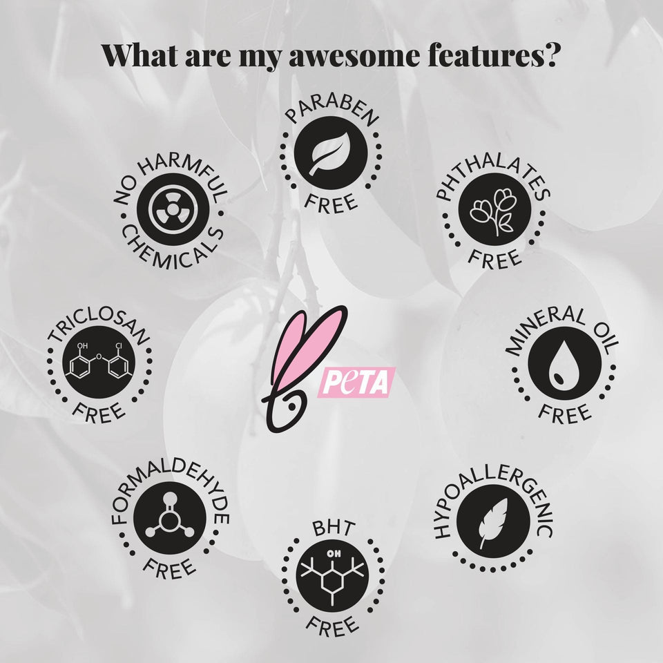 Awesome features with icons that products are free of  harmful chemicals, Paraben, Phthalates, Mineral, Hypoallergenic, BHT, Formaldehyde  and triclosan