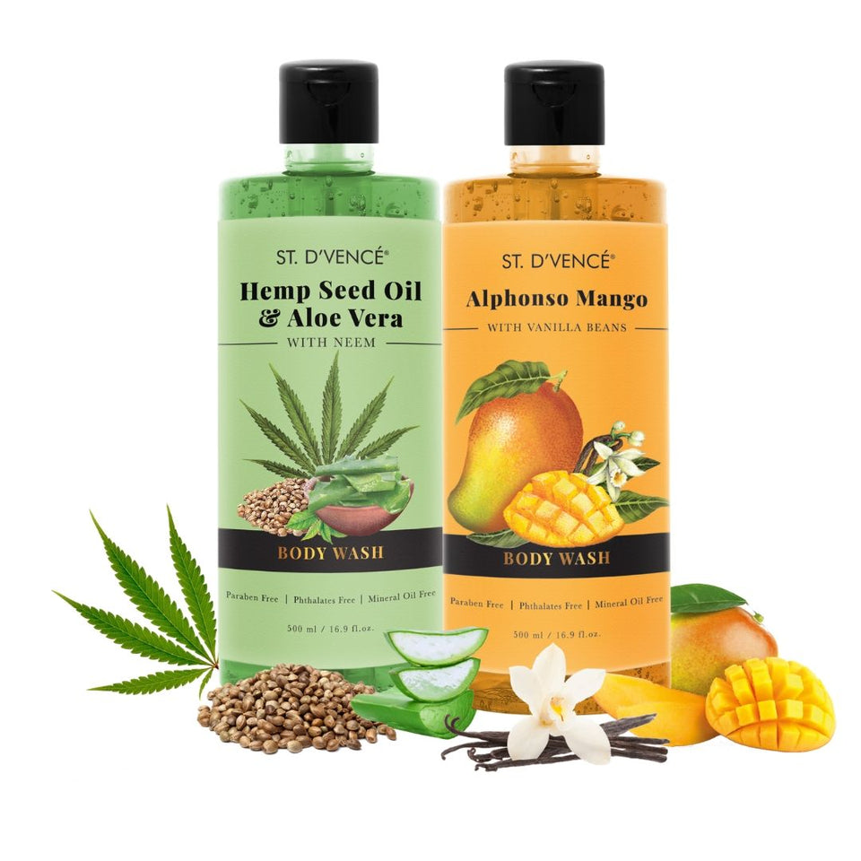 Combo Value pack of 2, 500ml Body wash. St. D'vence Alphonso Mango with Vanilla beans Beans and St. D'vence Hemp Seed Oil and aloe vera Body Wash 500 ml bottle.