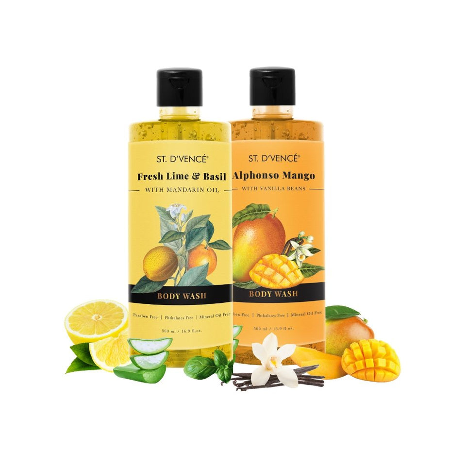 Combo Value pack of 2, 500ml Body wash. St. D'vence Alphonso Mango with Vanilla beans Beans and St. D'vence Fresh Lime and Basil with Mandarin Oil Body Wash 500 ml bottle.