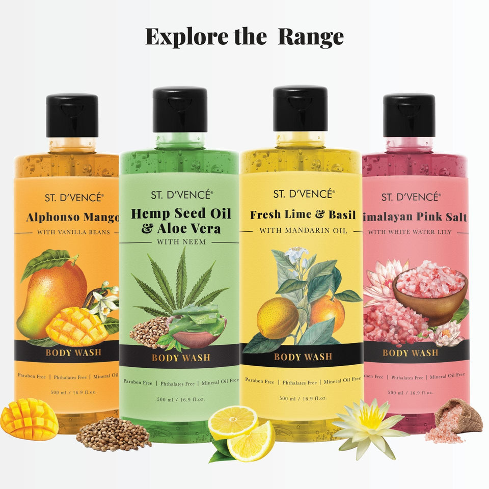 Explore the other ranges of body wash by St. D'vence. Fresh Lime and Basil with Mandarin Oil, Hemp seel oil and aloe vera, Himalayan Pink Salt with White Water Lily and Alphonso mango with vanilla beans.
