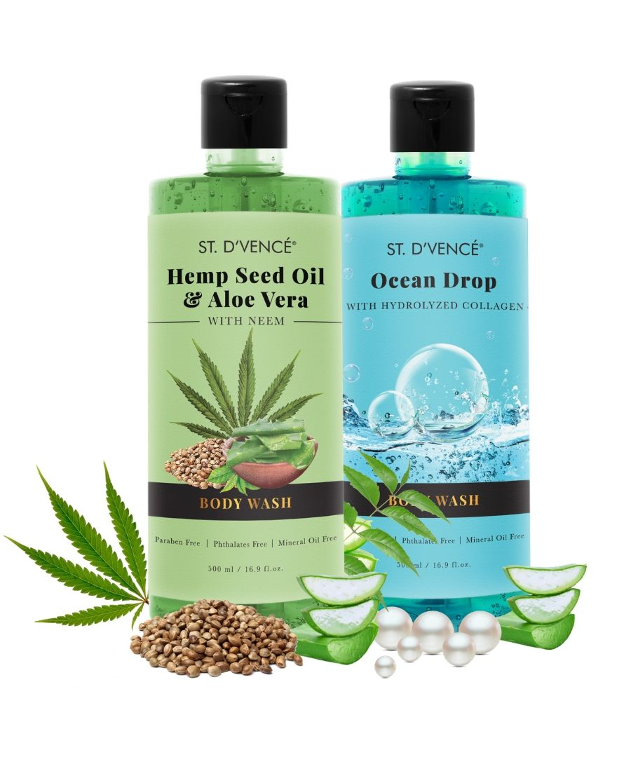 Combo Value pack of 2, 500ml Body wash. St. D'vence Ocean Drop with Hydrolyzed Collagen and  St. D'vence Hemp Seed Oil and alove vera Body Wash 500 ml bottle.