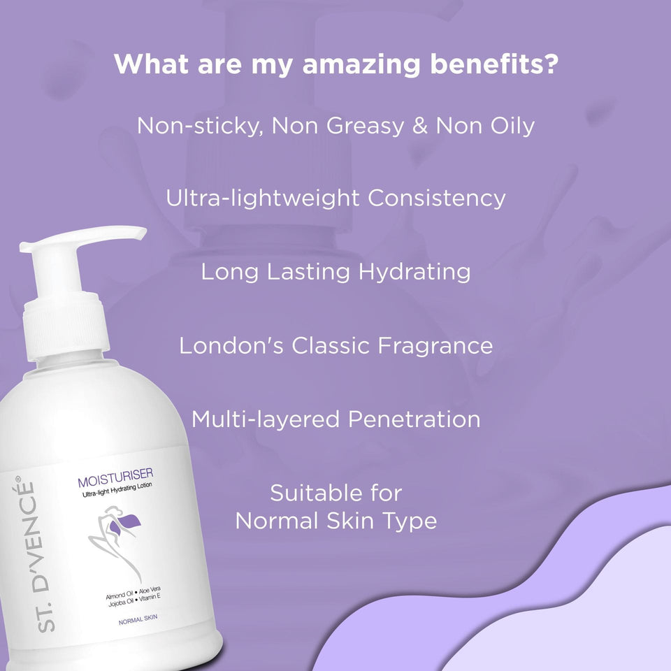 List of Amazing Benefits of this original moisturizer is it is non-sticky,non-greasy and non-oily, ultra-lightweight consistency, long lasting hydrating, has London's classic fragrance, multilayered penetration and suitable for normal skin type.