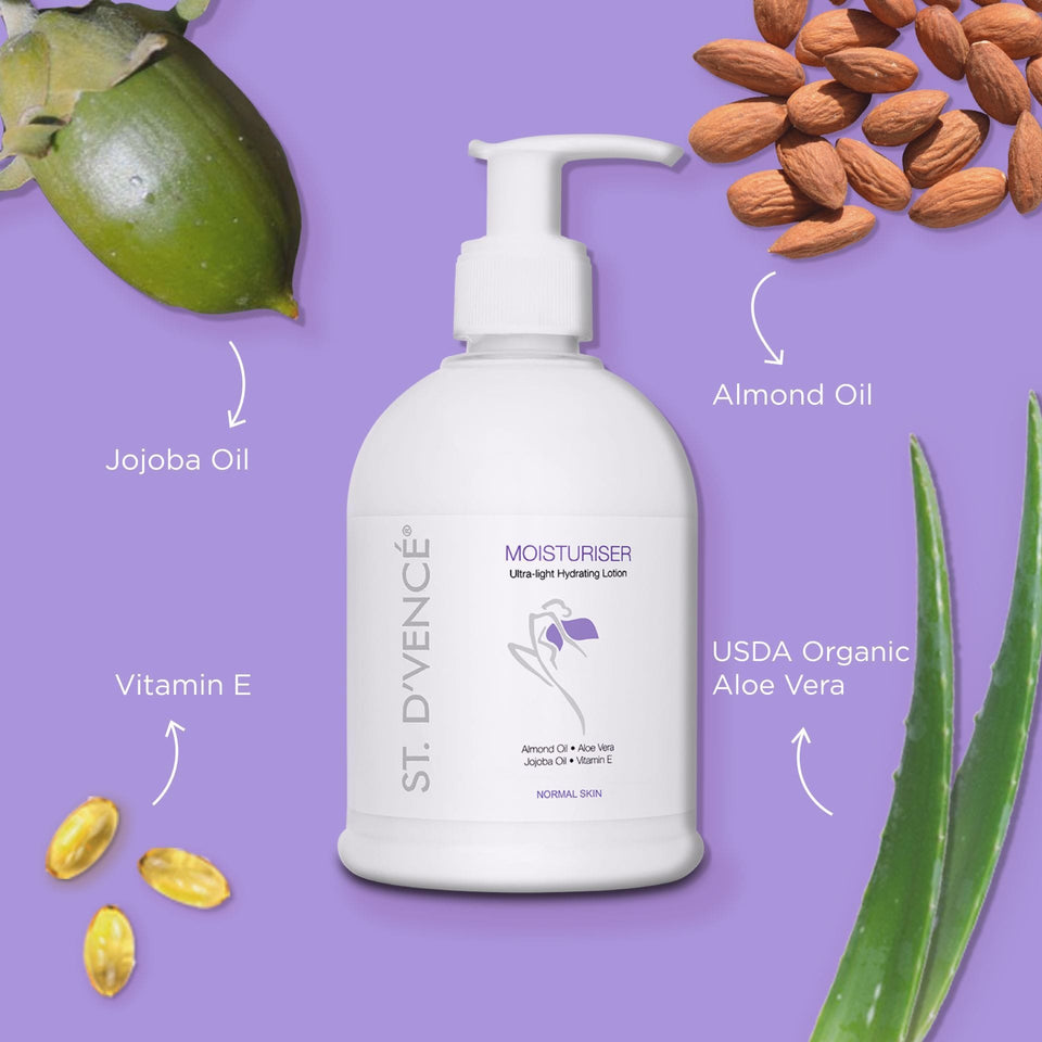 Main ingredients of Original Moisturizer like  Almond oil, Jojoba oil, Vitamin E, USDA organic Aloe Vera mentioned around the bottle.