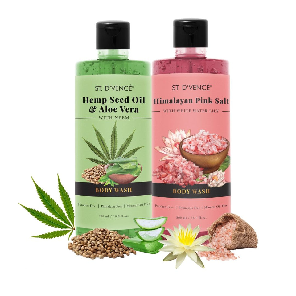 Combo Value pack of 2, 500ml Body wash. St. D'vence Himalayan Pink Salt with White Water Lily  and St. D'vence Hemp Seed Oil and aloe vera Body Wash 500 ml bottle.