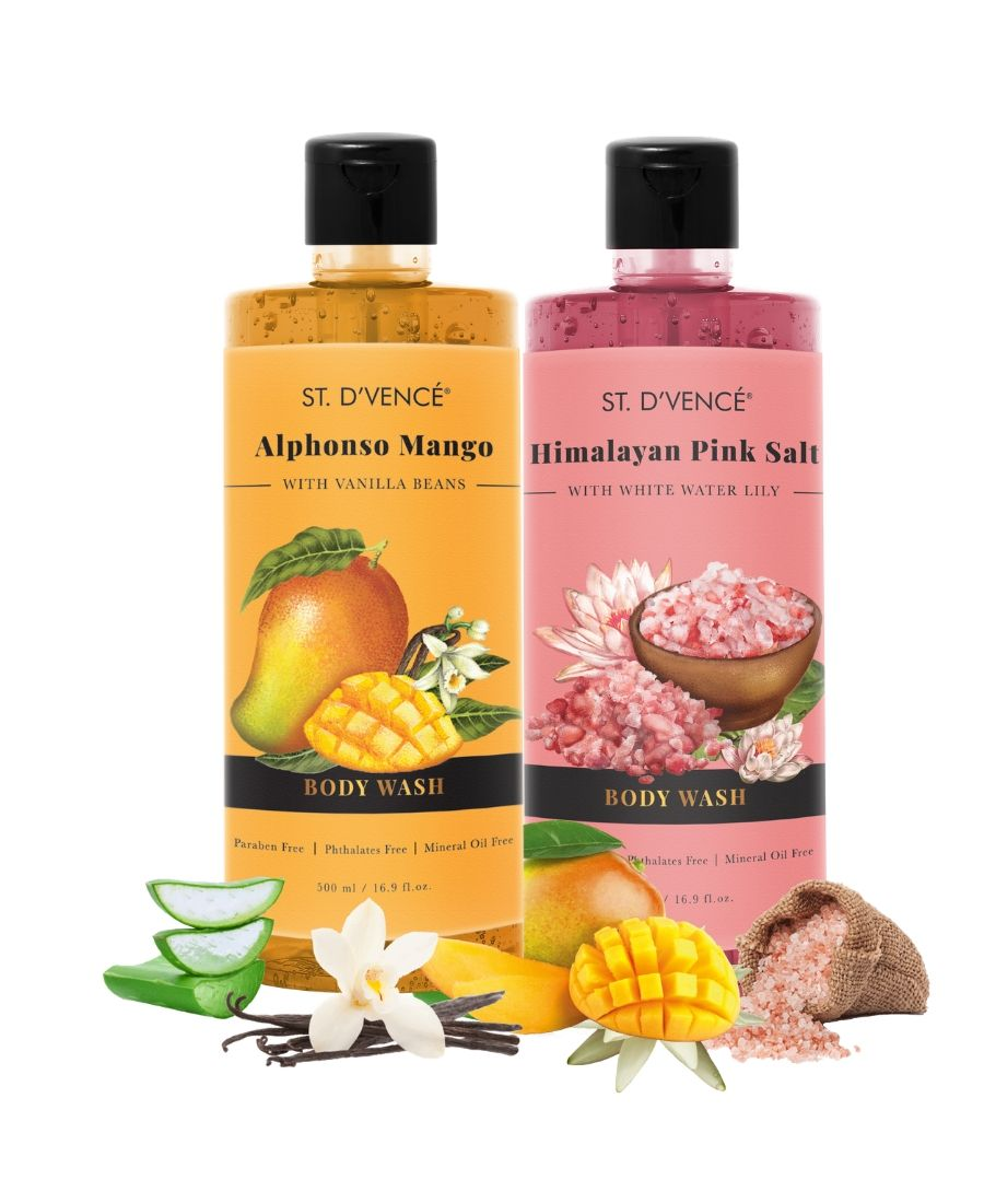 Combo Value pack of 2, 500ml Body wash. St. D'vence Alphonso Mango with Vanilla beans Beans and St. D'vence Himalayan Pink Salt with White Water Lily Body Wash 500 ml bottle.
