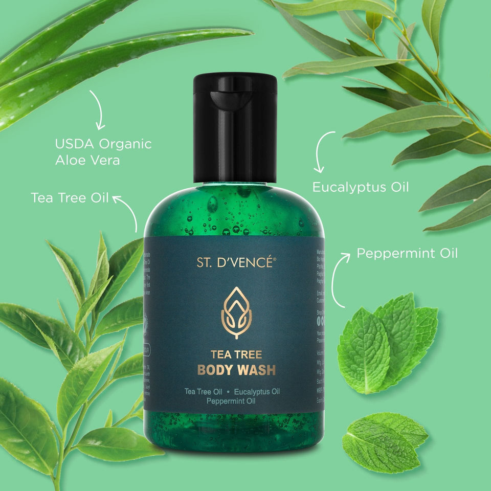 Main ingredients of shower gel like Tea tree Oil, Eucalyptus Oil, Peppermint Oil and Organic Aloe Vera mentioned around the bottle.