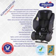 Load image into Gallery viewer, Klippan Century | 25kg Rear Facing Car Seat