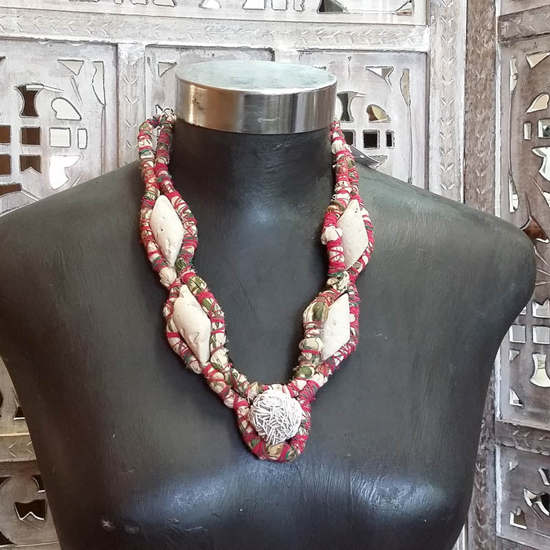 Fabric Necklace With Inlay