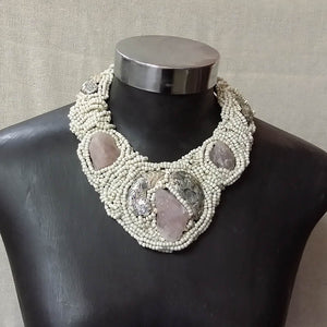 Quartz Choker With Beads & Shell