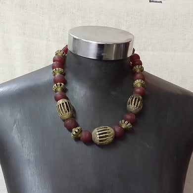 Recycled Glass & Brass Choker In Red