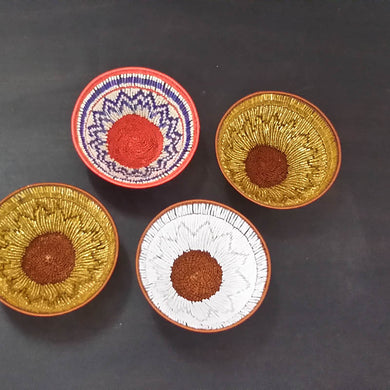 Small - Copper Wire Beaded Baskets Each