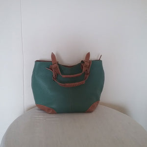 Turquoise & Tan Leather Bag Short & Long Strap With Many Inside Compartments