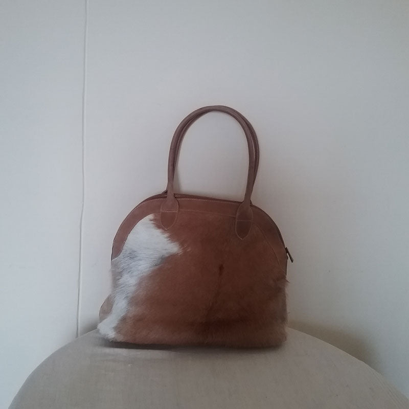 Ethiopian Leather/Nguni Skin Dual Sided With Top Zipper And Inside Pocket