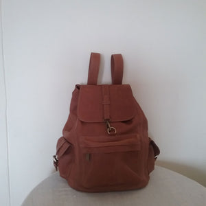 Ethiopian Brown Leather Backpack with Side Pockets Side Zipper & Inside Pockets