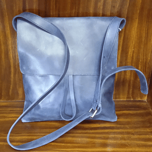 Charcoal Leather Bag with Inside Zip & Cell Pocket