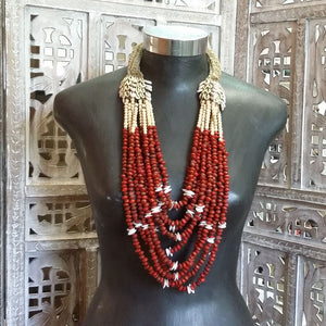 Red Seeds & Cowrie Shell Necklace From Cameroon